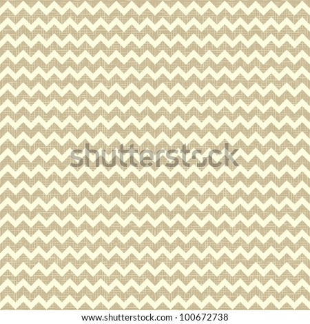Seamless chevron pattern on linen canvas background. Vintage rustic burlap zigzag