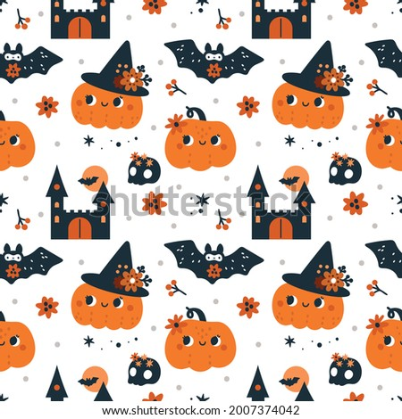 Seamless childish pattern for Happy Halloween with Pumpkins, ghosts, bats and magic elements isolated on white background. Autumn festive background with cartoon pumpkin. Print for holiday celebration