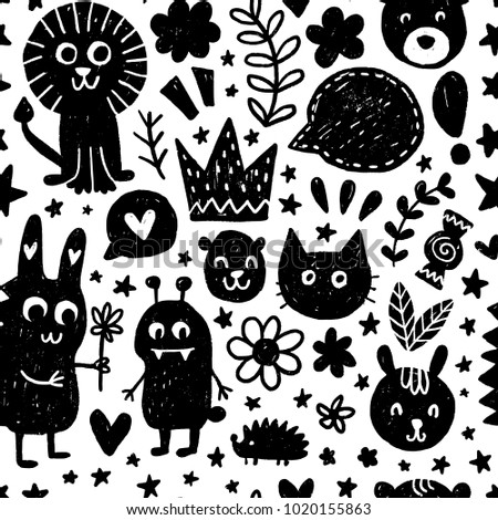 Seamless childish pattern. Vector kids background with hand drawn elements. Design for prints, shirts and posters. #1020155863