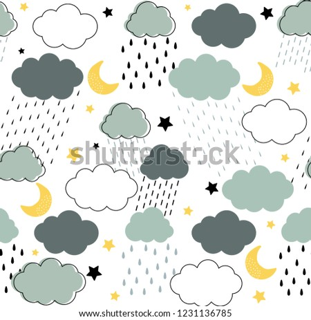 stock-vector-seamless-childish-pattern-with-clouds-raindrops-dots-lines-moon-and-stars-in-the-night-rainy