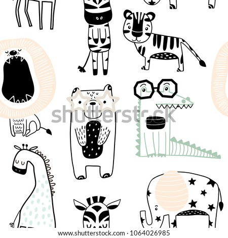 Seamless childish pattern with cute animals in black and white style. Creative scandinavian kids texture for fabric, wrapping, textile, wallpaper, apparel. Vector illustration