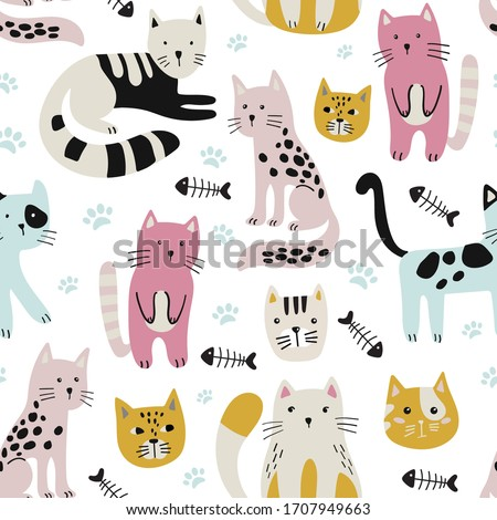 Seamless childish pattern with cute cats . Creative kids hand drawn texture  Vector illustration