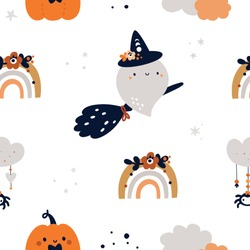 Seamless childish pattern with cute ghosts, spiders and rainbows . Children background for halloween celebration. Kids texture for print, textile, wallpaper, apparel, fabric, wrapping paper