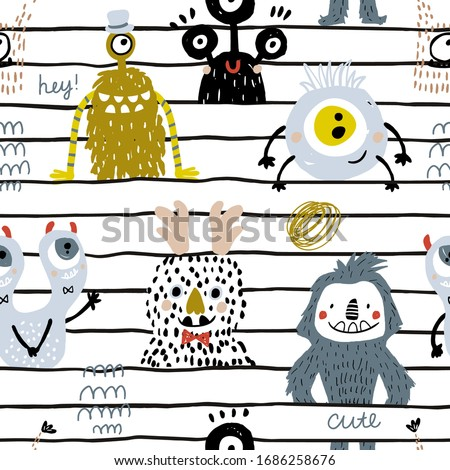 Seamless childish pattern with cute hand drawn monsters. Creative kids texture. Perfect for apparel, fabric, textile, wallpaper. Foto stock ©