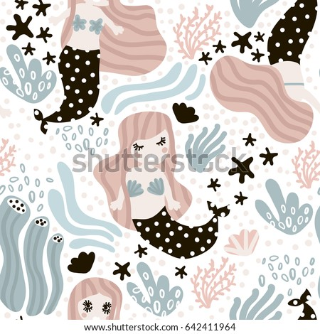 Seamless childish pattern with cute mermaids. Undersea vector trendy texture.Perfect for fabric,textile,wrapping
