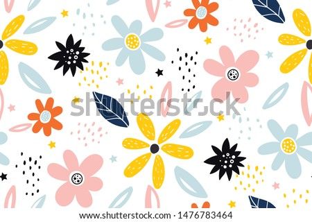 Seamless childish pattern with fairy flowers. Creative kids city texture for fabric, wrapping, textile, wallpaper, apparel. Seamless pattern with creative decorative flowers in scandinavian style.