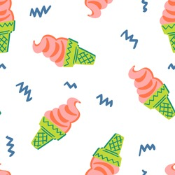 seamless childish pattern with hand-drawn ice cream vector illustration. Good for kids theme, paper, card, fabric, textile, stationary, wallpaper.