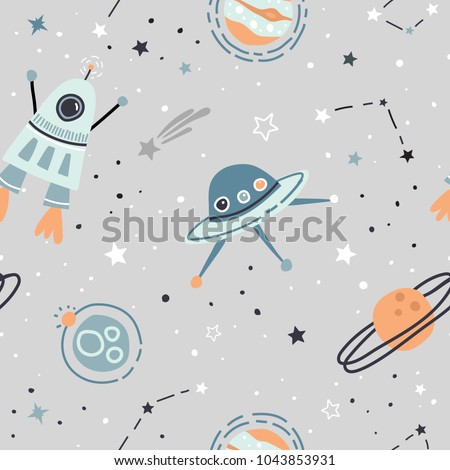 Seamless childish pattern with hand drawn space elements space, satellite, planet, rocket, black and white stars, space probe, constellations, meteorite. Trendy kids  light grey vector background.