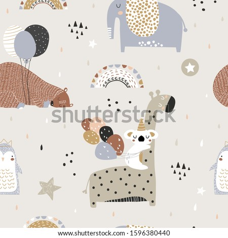 Seamless childish pattern with party animals . Creative scandinavian kids texture for fabric, wrapping, textile, wallpaper, apparel. Vector illustration
