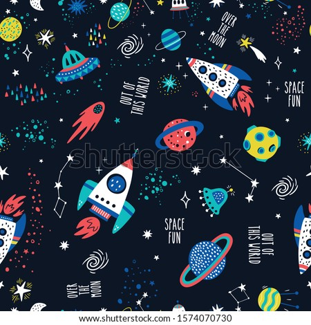Seamless childish pattern with space elements, star.Creative nursery background. Perfect for kids design, fabric, wrapping, wallpaper, textile, apparel