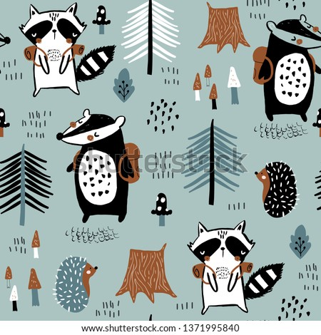 Seamless childish pattern with tourist raccoon with beaver in the forest. Creative kids woodland for fabric, wrapping, textile, wallpaper, apparel. Vector illustration