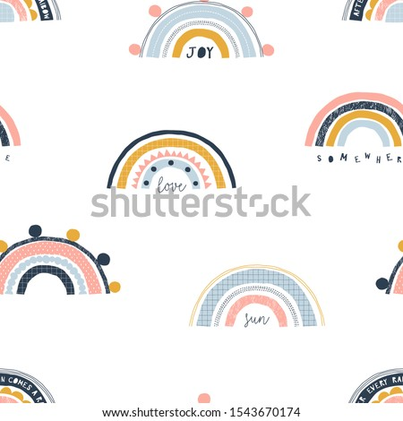 Seamless childish pattern with trendy rainbows. Creative scandinavian gender-neutral kids background for fabric, wrapping, textile, wallpaper, apparel. Vector illustration