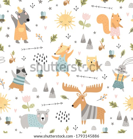 Seamless childish pattern with woodland animals. Cute deer, bear, raccoon, fox, bunny, squirrel in clothes, funny characters. Creative scandinavian kids texture for fabric, wrapping, textile