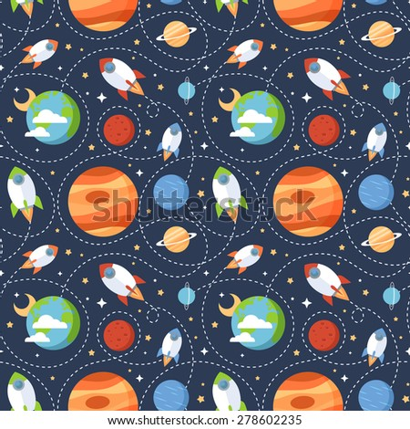 Seamless children cartoon space pattern with rockets, planets, stars and universe over the dark night sky background
