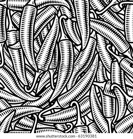 Seamless chili pepper background black and white. Vector