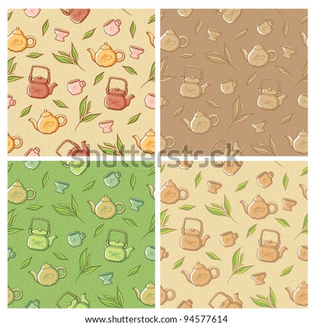 Seamless chinese vector tea set pattern background - stock vector