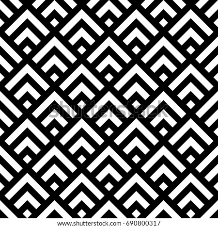 Seamless Chinese window tracery pattern design. Repeated white rhombuses and angle brackets on black background. Scallop ornament. Image with scales. Ancient japanese scallops motif. Squama. Vector