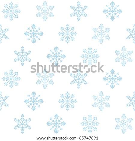 Seamless Christmas background: blue snowflakes on white. Vector