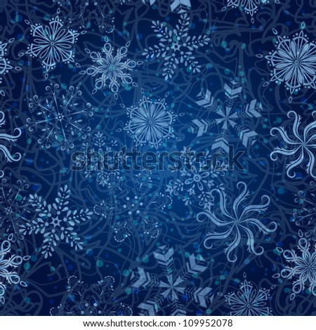 Seamless Christmas background: white snowflakes, curves and circles on blue. Vector