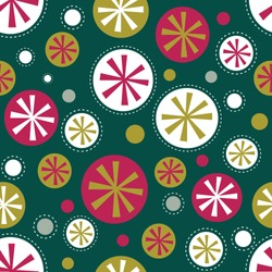 Seamless Christmas background with bauble pattern with gold, red and green color, great for decoration paper, wrapping, wallpaper