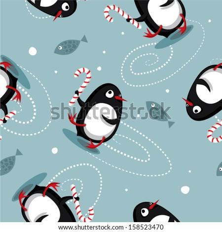 Seamless Christmas dancing penguins pattern