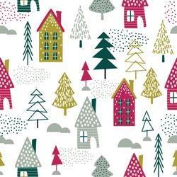 Seamless Christmas house and Christmas tree design vector illustration
