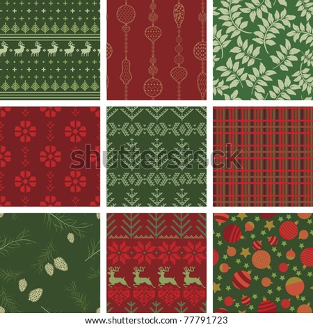 Seamless Christmas Pattern Tile Collection
