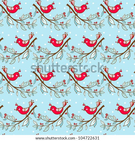 Seamless  Christmas pattern with birds. Seamless winter pattern. Vector