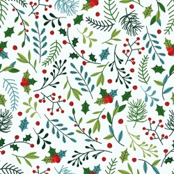 Seamless Christmas Pattern with Blue and Green Spruce Branches, Mistletoe and Berries.