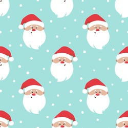 Seamless Christmas pattern with cartoon Santa Claus. Wrapping paper design.