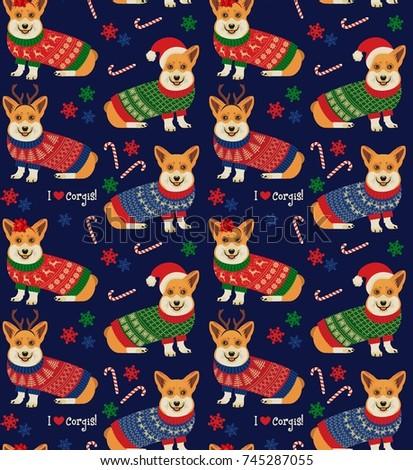 Seamless Christmas Pattern with Corgis. Vector Illustration.