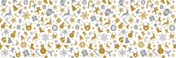 Seamless Christmas pattern with ornaments. Vector.