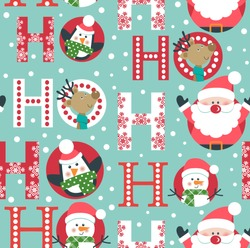 Seamless Christmas pattern with Santa, deer, penguin and snowman.