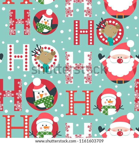 Stock Photo Seamless Christmas pattern with Santa, deer, penguin and snowman.