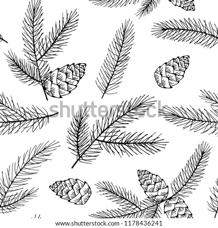 Seamless Christmas pattern with spruce branches and cones. Vector illustration.