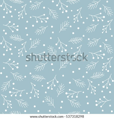 Seamless Christmas pattern with spruce branches. berries and stars. Vector illustration.