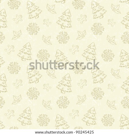 Seamless Christmas pattern with tree and snowflake