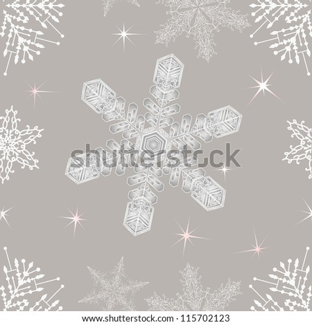 Seamless  Christmas snowflakes. EPS 8 - stock vector