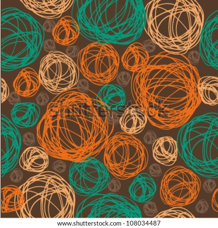 Seamless circle pattern with clew. Endless colorful texture on dark background