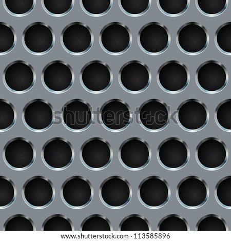 Seamless circle perforated metal grill vector pattern. - stock vector