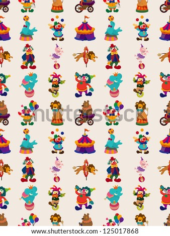 seamless circus pattern,cartoon vector illustration