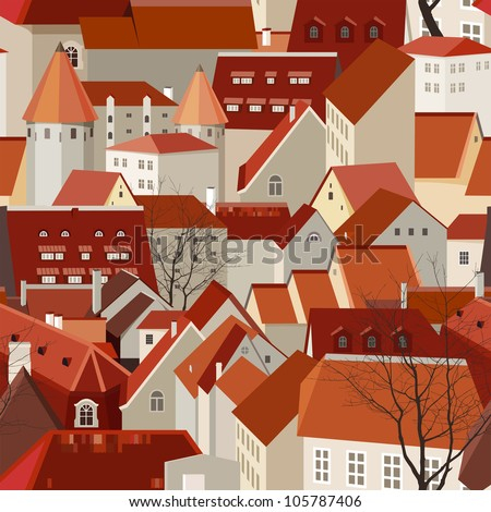 Seamless city landscape with tile roofs