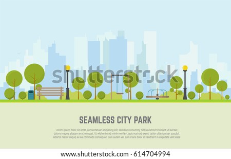 seamless city park bench  lawn