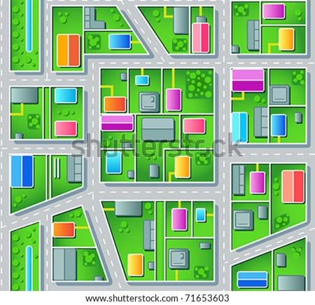 Seamless city suburb plan with houses, trees and roads - stock vector