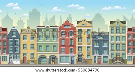 Seamless cityscape background with old houses