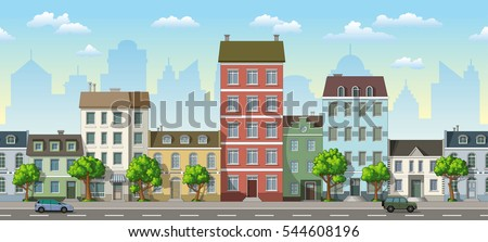 seamless cityscape cartoon
