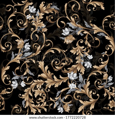 Seamless classic baroque pattern with graphic flowers on black background Photo stock ©