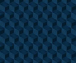 Seamless classic blue geometric embroidery cube pattern