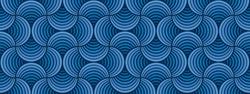 Seamless Classic Blue Striped Petals Deep Blue Background Vector Pattern