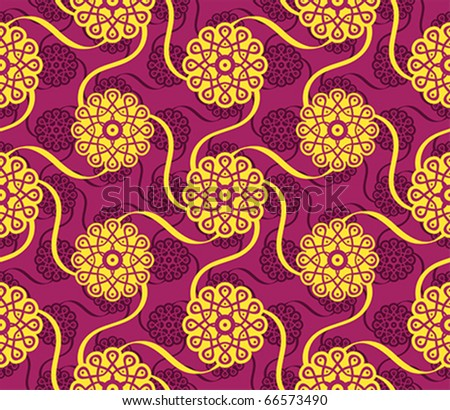 Seamless classic indian flower dancing pattern - stock vector
